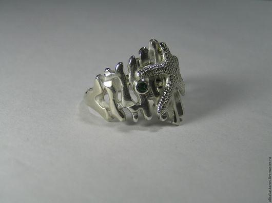 """Кольца ручной работы. Ярмарка Мастеров - ручная работа. Купить Колечко """"Подводный мир"""". Handmade. Морская волна, изумруд"""