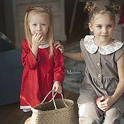 Платья ручной работы. Ярмарка Мастеров - ручная работа Платье для девочки льняное Алиса красное. Handmade.