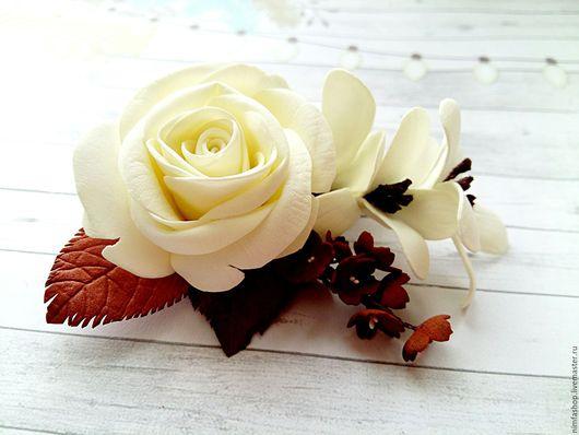 """Броши ручной работы. Ярмарка Мастеров - ручная работа. Купить Брошь """"Белый шоколад"""". Handmade. Белый, брошь, брошь с розой"""
