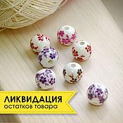 Бусины ручной работы. Ярмарка Мастеров - ручная работа Бусины керамические с цветами 12 мм. Handmade.