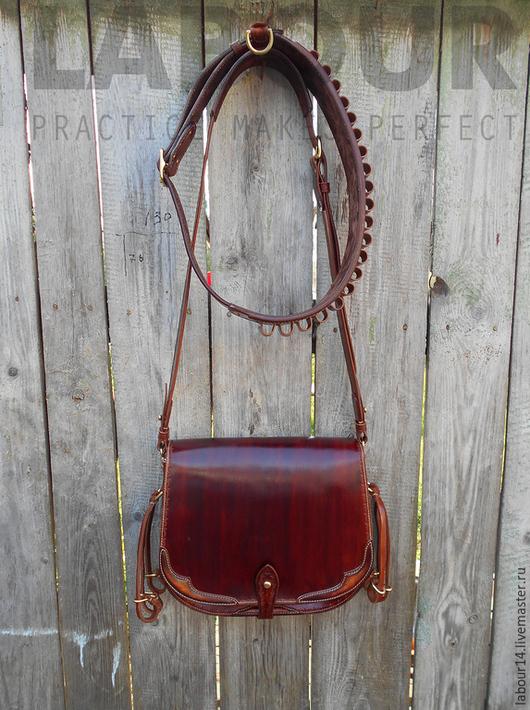 Мужские сумки ручной работы. Ярмарка Мастеров - ручная работа. Купить Охотничья сумка из кожи, ягдташ и патронташ Labour. Handmade.