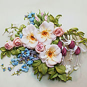 Pictures handmade. Livemaster - original item The picture ribbons of Rose and fuchsia. Handmade.