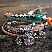 Украшения handmade. Livemaster - original item Female bracelet on the arm of BOHO with agate and serpentine