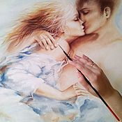 Картины и панно handmade. Livemaster - original item Oil painting with girl and guy Kiss with loved one. Handmade.