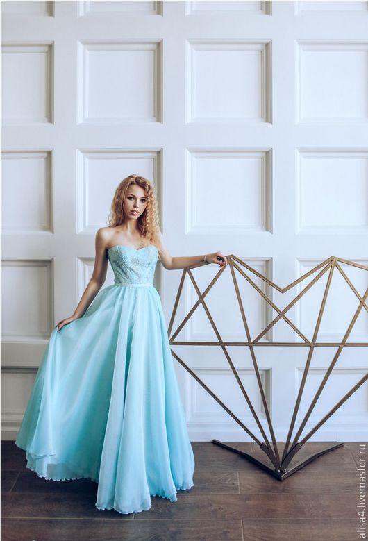 Платья ручной работы. Ярмарка Мастеров - ручная работа. Купить нежно голубое летящее платье. Handmade. Платье в пол, однотонный