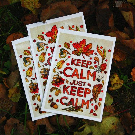 """Открытки на все случаи жизни ручной работы. Ярмарка Мастеров - ручная работа. Купить Открытка """"Just keep calm"""". Handmade. Рыжий"""