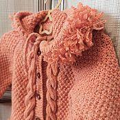 Одежда детская handmade. Livemaster - original item Orange Knitted cardigan with hood for girls 2-3 years old as a gift. Handmade.
