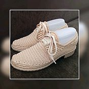 Обувь ручной работы handmade. Livemaster - original item The order is Shoes knit, beige Sole Classics Shoes knitted. Handmade.