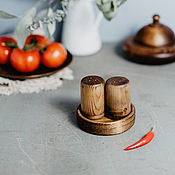 Для дома и интерьера handmade. Livemaster - original item Wooden Salt and pepper shakers with stand Set of Siberian Cedar #SP6. Handmade.