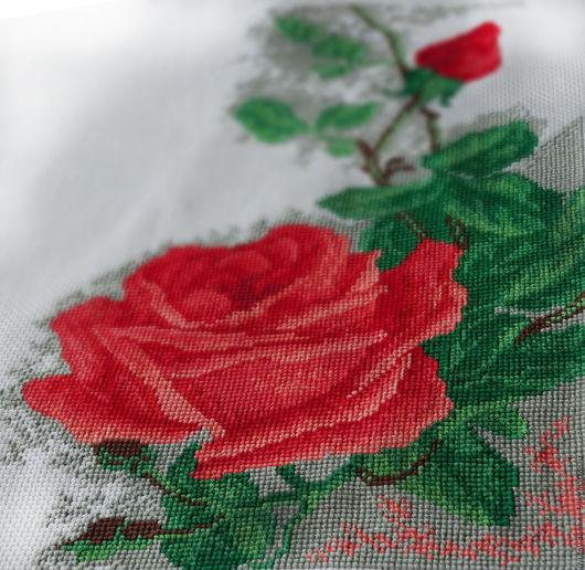 Вышивка крестом `Алая роза`. Картины и панно для дома. Мой сад.
