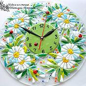 Для дома и интерьера ручной работы. Ярмарка Мастеров - ручная работа настенные часы ПОСЛЕ ДОЖДЯ, стекло, фьюзинг. Handmade.