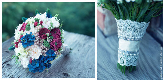 Свадебные цветы ручной работы. Ярмарка Мастеров - ручная работа. Купить Свадебный букет из полимерной глины для летней свадьбы.. Handmade.