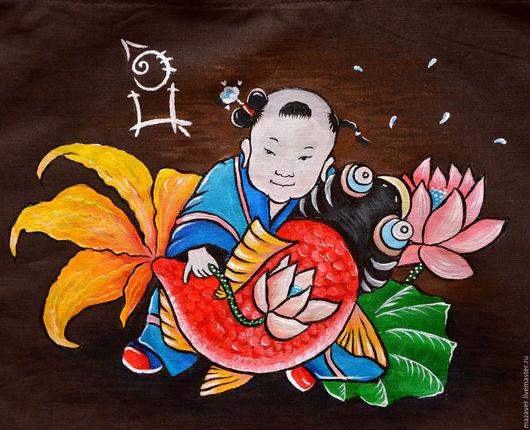 """Фен-шуй ручной работы. Ярмарка Мастеров - ручная работа. Купить Льняная сумочка """"Малыш и рыбка"""". Handmade. Коричневый, рыбалка"""