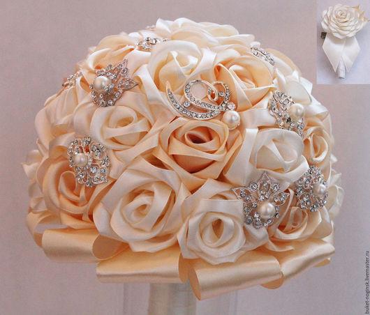 """Свадебные цветы ручной работы. Ярмарка Мастеров - ручная работа. Купить Брошь-букет из роз """"Нежность"""" + бутоньерка в подарок. Handmade."""