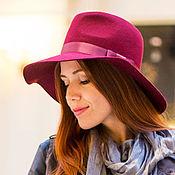 Аксессуары handmade. Livemaster - original item Cherry hat Fedora with medium brim. Handmade.