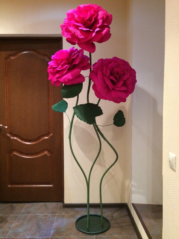 Большие цветы из гофрированной