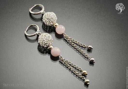 Серьги ручной работы. Ярмарка Мастеров - ручная работа. Купить Серьги для девушки с розовым кварцем Кружевной каприз. Handmade.