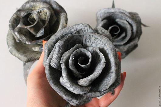 Цветы ручной работы. Ярмарка Мастеров - ручная работа. Купить Розы из оцинкованной стали. Handmade. Серый, кованная