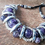 Украшения handmade. Livemaster - original item Jewelry made of natural stones, stylish boho necklace made of amethyst. Handmade.