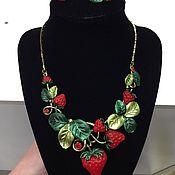 handmade. Livemaster - original item Vintage: Delicious set of Juicy strawberries, enamel, crystals. Handmade.