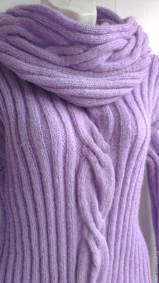 Кофты и свитера ручной работы. Ярмарка Мастеров - ручная работа. Купить Пуловер+снуд Нежная сирень. Handmade. Сиреневый, пуловер с косами