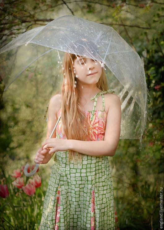 Одежда для девочек, ручной работы. Ярмарка Мастеров - ручная работа. Купить Сарафан для девочки летний хлопок зеленый розовый цветочный. Handmade.