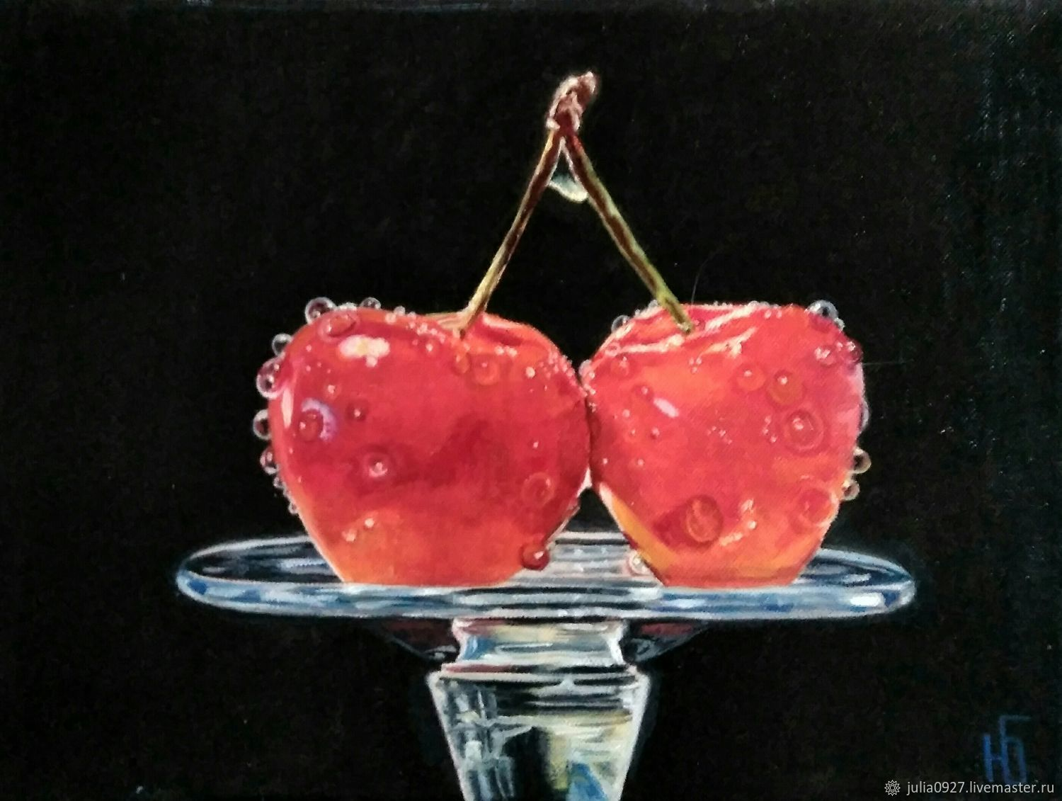 Painting cherry cherry glass on a black background hyperrealism on hol, Pictures, Ekaterinburg,  Фото №1