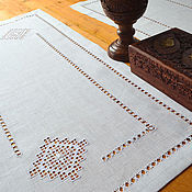 Для дома и интерьера ручной работы. Ярмарка Мастеров - ручная работа Дорожка с вышивкой снежинка, лен, строчевая вышивка, мережка. Handmade.