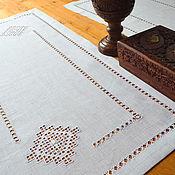 Для дома и интерьера handmade. Livemaster - original item track with embroidery snowflake, flax, strojeva embroidery, hemstitch. Handmade.