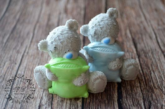 Мыло ручной работы. Ярмарка Мастеров - ручная работа. Купить Мишка Тедди с подушкой. Handmade. Салатовый, сувенир мыло в подарок