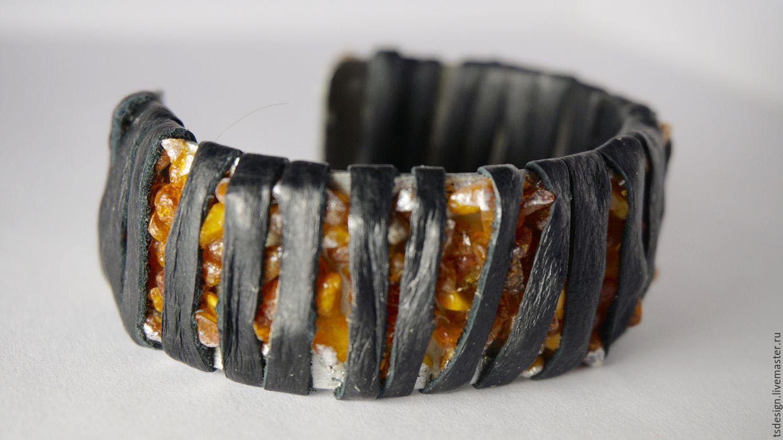"""Кожаный браслет с янтарем """"Полосатость"""""""