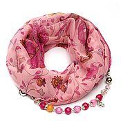 Аксессуары handmade. Livemaster - original item chiffon shawl with beads (pink). Handmade.