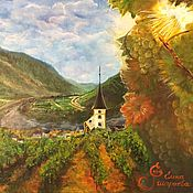 handmade. Livemaster - original item Pictures: Oil painting Mountain landscape of Germany. Gold of the Rhine.. Handmade.