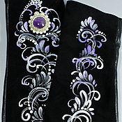 Аксессуары handmade. Livemaster - original item Fingerless gloves-long sleeve suede