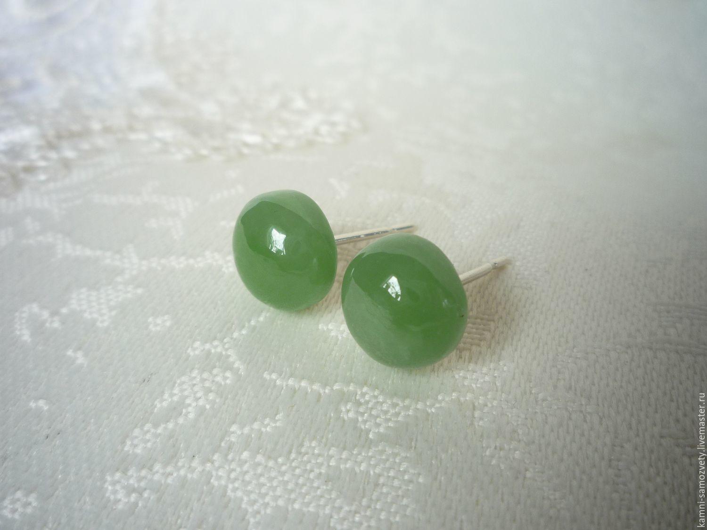 Earrings Handmade Livemaster Studs Of Jade