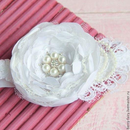 Повязки ручной работы. Ярмарка Мастеров - ручная работа. Купить Повязка для девочки с кружевом цветок белый. Handmade. Белый, утренник