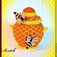 """Шкатулки ручной работы. Ярмарка Мастеров - ручная работа. Купить шкатулка из бисера """" горшочек для мёда"""". Handmade. Оранжевый"""