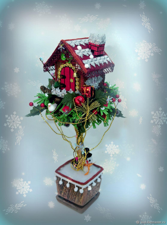 Новогодний топиарий со сказочным домиком, Новогодние композиции, Кызыл,  Фото №1