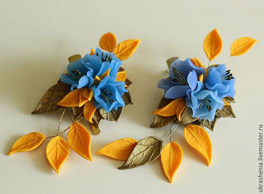 Брошь зажим на лацкан жакета или украшение для волос с голубыми цветами желтыми и бронзовыми листьями из полимерной глины. Цена 950р брошь-справа