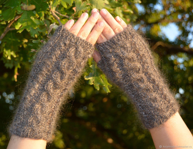 Down-filled mitts, knitted from 100% goat fluff 'Avtoledi', Mitts, Urjupinsk,  Фото №1