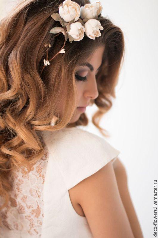 Свадебные украшения ручной работы. Ярмарка Мастеров - ручная работа. Купить Венок для волос с садовыми розами. Handmade. Белый, розочки