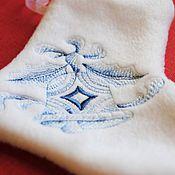 """Подарки к праздникам ручной работы. Ярмарка Мастеров - ручная работа Новогодний сапожок из серии """"Голубое Рождество"""",колокольчик. Handmade."""
