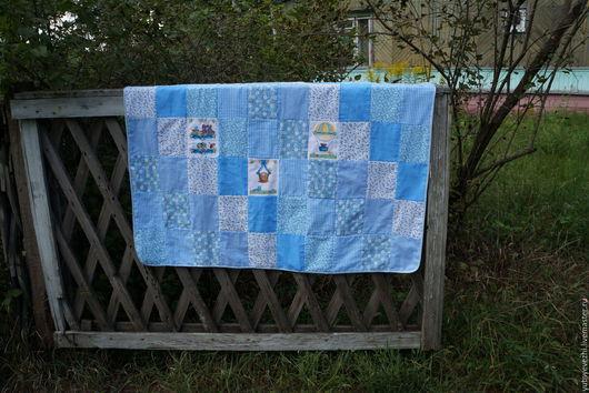 Пледы и одеяла ручной работы. Ярмарка Мастеров - ручная работа. Купить Лоскутное одеяло для мальчика. Handmade. Голубой, лоскутное покрывало