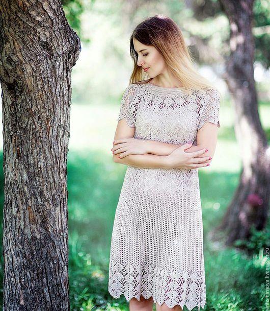 Платья ручной работы. Ярмарка Мастеров - ручная работа. Купить Платье вязаное ажурное. Handmade. Бежевый, платье коктейльное, хлопок