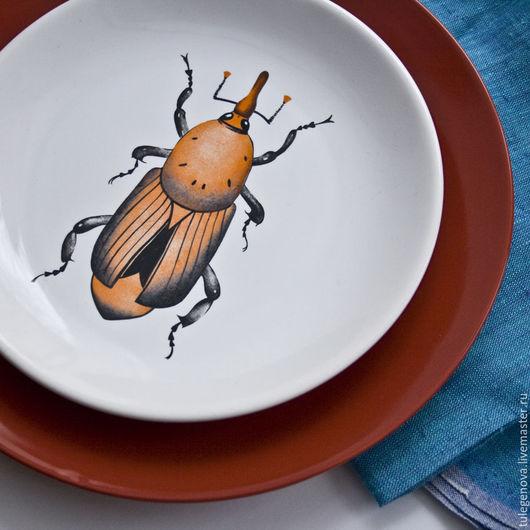 """Тарелки ручной работы. Ярмарка Мастеров - ручная работа. Купить Тарелка """"Жук пальмовый долгоносик"""". Handmade. Рыжий, оранжевый, жучок"""