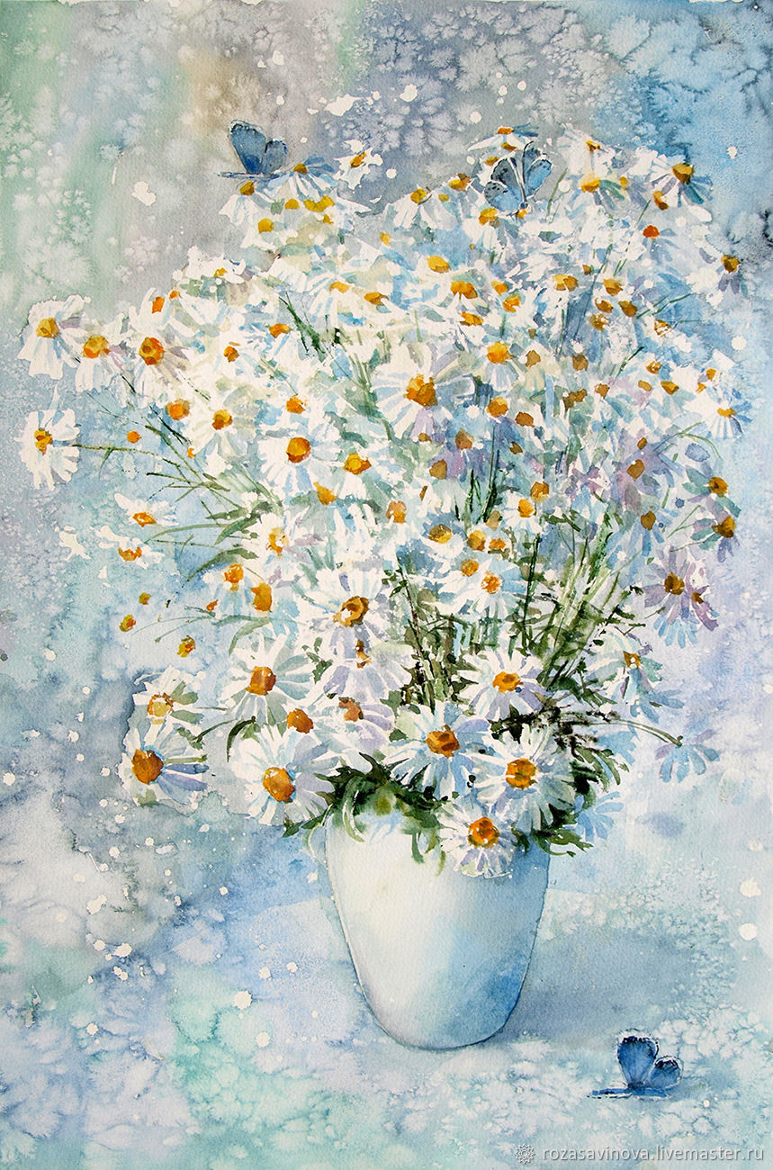 Watercolor painting Chamomile morning, Pictures, Magnitogorsk,  Фото №1