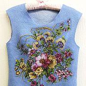 """Одежда ручной работы. Ярмарка Мастеров - ручная работа Жилет валяный """"Цветы на рассвете"""". Handmade."""