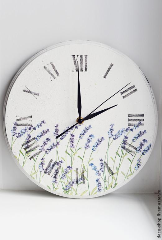 """Часы для дома ручной работы. Ярмарка Мастеров - ручная работа. Купить Настенные часы """"Лавандовая мечта"""". Handmade. Белый, лаванда"""