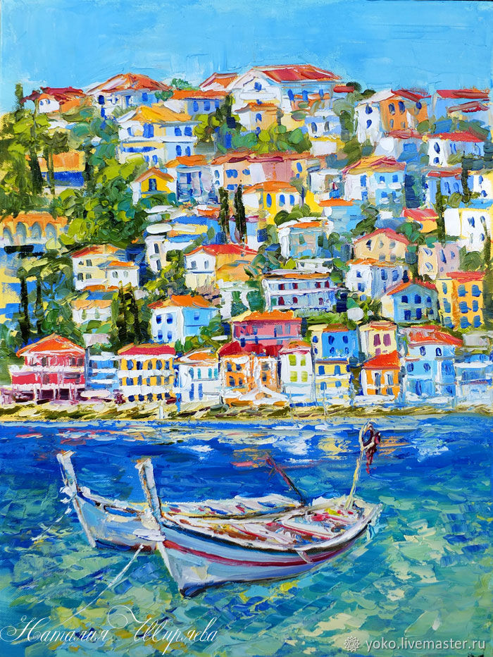 The picture with the boats 'Mixed Mediterranean' oil on canvas, Pictures, Voronezh,  Фото №1