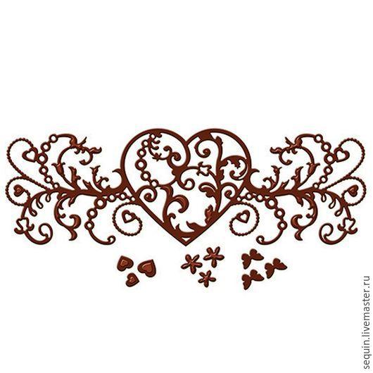 Сердца маленькие: размер 0,63см до 1,87см (3 шт) Цветы: диапазоны 0,63см до 1,87см (3 шт) Бабочки:0,63см до 1,87см (3 шт) Основной узор: 14,4см х 5см